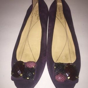 Kate spade Neely purple jeweled suede flats size 8